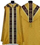 Gold/red Semi Gothic Cope With Stole Ky579-agc16p Vestment Capa Pluvial Dorada