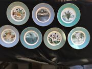 Vtg Set Of 7 Enoch Wedgwood Collectible Christmas Plate Series Avon 1974-1980