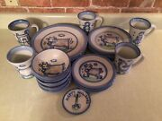 Four, Complete, 25 Pcs. Total Country-themed, Dish Sets By M.a. Hadley Pottery