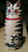 """Pottery Cat Vase Sculpture White Red Blue Glaze Signed Wire Whiskers  8.5"""" tall"""