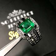 Natural 4.25tcw Emerald And Vs Diamonds 18k Solid White Gold Ring Huge Engagement