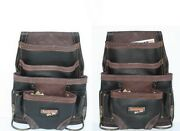 2 Oil Tan Leather 10 Pkt Carpenter Tool Pouch Waist Bag With Steel Hammer Holder