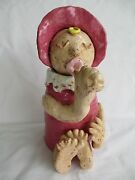"Pottery Folk Art Sculpture Clay Jar, 9 1/2"" Signed & Dated, Handcrafted, Pink"