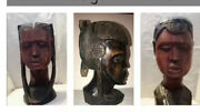 Solid Wood Hand Carved African Tribal Woman, Man And Kid Sculpture Ironwood -kenya