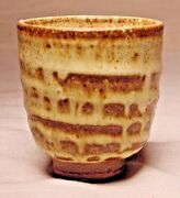"""A Vintage Hand Made Japanese Yunomi Art Pottery Tea Cup 2 5/8"""" Tall"""