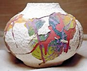 Rare 1992 Handmade & Decorated Multi Color Pottery Vase by Artist / Potter Haily