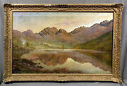Beautiful Early 20th Century Oil Painting Mountain Lake Landscape
