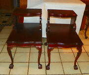 Pair Of Mid Century Carved Mahogany Step End Tables / Side Tables Mersman T280