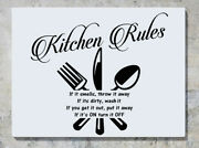 Kitchen Rules If It Smells Throw It Away Wall Decal Art Sticker Picture