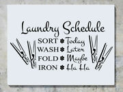 Laundry Schedule - Sort Wash Fold Iron Wall Decal Art Sticker Picture