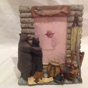 New Hunting Fly Fishing Cabin Picture Frame W/ Mom And Dad Bears-heavy 4 X 6