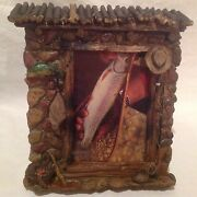 New-rivers Edge Fieldstone Picture Frame Fly Fishing Cabin Theme Hand Painted