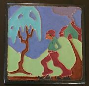 Antique Brayton Laguna Pottery -California Art Deco Tile (1927-30)- Man walking