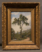 Beautiful Early 20th Century Oil Painting Tree And Walkway Through Garden Park