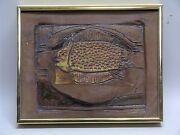 STUNNING MID CENTURY EXPRESSIONIST FISH STUDIO POTTERY WALL SCULPTURE FRAMED