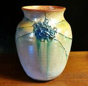 Studio art pottery gold raku wrapped wire luster vase dry use only Joanna Case