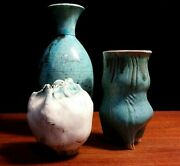 Decorator Lot 3 Small Aqua Blue Raku Studio Art Pottery Vases organic foot black