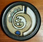 Vintage MCM studio art pottery abstract rimmed plate signed S. Davis blue green