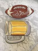 Clay Art Ceramic Touch Down Football and Beer Glass Snack Bowls
