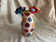 Mary Rose Young Pottery Vase Colorful Flower Top Polka Dot Artist Signed