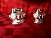 Pair Of Ronson Crown Table Lighters Silverplate