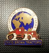 David Brown Enamelled Brooch Tractors 1 1/16x1 1/16in Stamped Fattorini And Sons