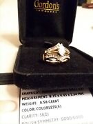 Ring 14kt. Yellow Gold 0.58 Karat Marquise Diamond With Gold And Diamond Guard