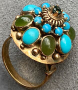 Etruscan Revival 14k Yellow Gold Turquoise Nephrite Cabochon Thai Princess Ring