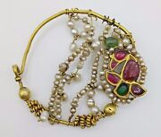 Traditional Nath Nose Ring Gold Basra Pearls Ruby Old Jewellery Collectible Ind