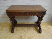 1110012 Antique French Carved Renaissance Dolphin Hunt Writing Desk Side Table