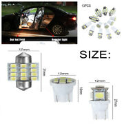 13pcs Car White Led Lights Kit T10and31mm Dome Map Door Glove Box License Plates