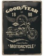 A3 Retro Tin Metal Embossed Sign 'goodyear' Tires 1950's Motorcycles Licensed