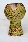 "Early Brayton California Green and Brown 6"" Art Vase Marked M-4-V  and an H"