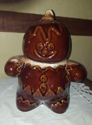 VINTAGE ANTIQUE BROWN DRIP HULL POTTERY GINGERBREAD MAN BOY COOKIE JAR CANISTER