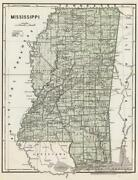 Mississippi Vintage 1845 State Road Map Glossy Poster Picture Photo Print 3361
