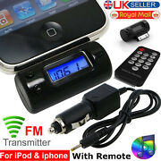 Fm Radio Transmitter With Remote Car Charger For Iphone 3g 3gs 4 Ipod Touch Nano