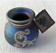 Jeremy Diller Raku Vase Hand Thrown And Fired Signed With Original Tags