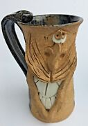 "Funny Face Art Stoneware Pottery Mug Tall 5.5"" Coffee Cup w/ Teeth"