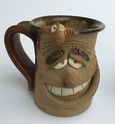 "Funny Face Art Stoneware Pottery Mug with Kilroy on Rim 4.5"" Coffee Cup Signed"