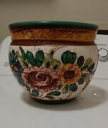 Vintage Signed Italy Majolica Pottery Floral Vase