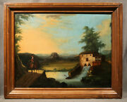 19th Century Oil Painting Landscape Signed Thomas Chambers American