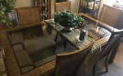 Vintage Drexel Dining Table With 2 Glass Inserts6 Cane Back Chairs And 2 Leaves