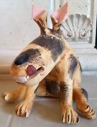 """Whimsical Folk Art Pottery """"Dog Sculpture"""" Jack Russell? Handmade in Mexico"""