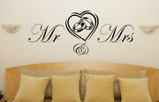Mr And Mrs Heart Rings Wedding Engagement Love Bedroom Decal Wall Art Sticker