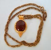 Vtg Signed 1990 Mma Goldtone Wag Red Stone W Egyptian Scarab Pendant On Chain