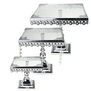 Metal Cake Stand With Glass Top 10-3/4-inch 3 Piece