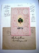 1840 Elaborate Antique Valentine Card W/ Real Silk And Gorgeous Paper Lace