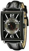 Gevril Menand039s 5050 Avenue Of Americas Automatic Luminous Black Leather Watch