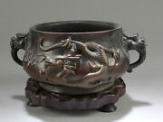 Bronze Cast And039dragonsand039 Censer With Wooden Stand