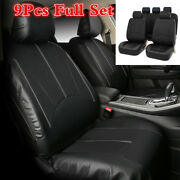 9pcs/set Best Quality Pu Leather Front/rear Car Seat Covers Black For Car Suv